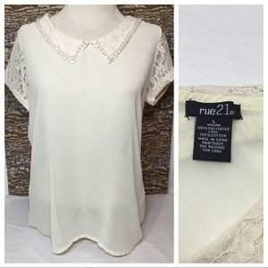 RUE 21 SHEER BLOUSE WITH LACE SLEEVES PEARL COLLAR